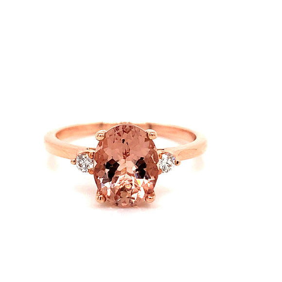 2ct Oval Morganite Rose Gold Ring with .083ct Certified Maple Leaf Diamond Side Stones
