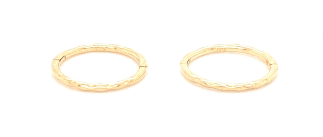 9ct Gold Hammer Effect Sleeper Earrings