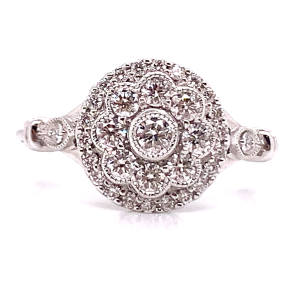 18ct White Gold Vintage Style Diamond Engagement Ring
