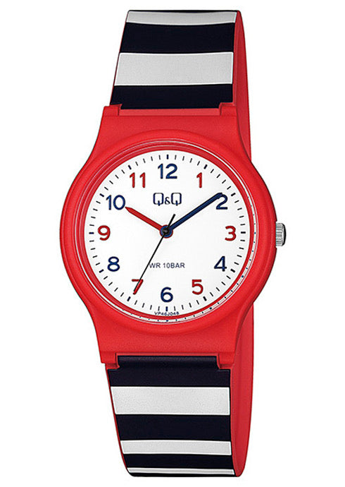 Q & Q Boys Red,White And Black Striped Silicone Strap Watch