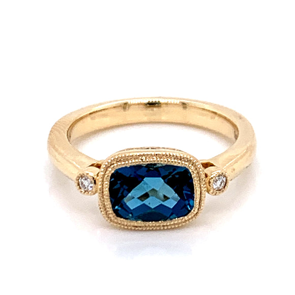 1.89ct Elongated Cushion London Blue Topaz & Diamond Ring in Yellow Gold