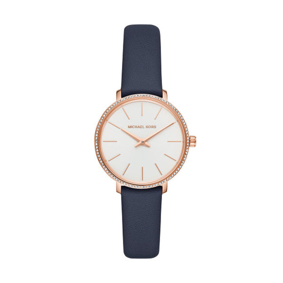 Michael Kors Pyper Navy Leather Strap Ladies Watch MK2804