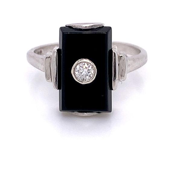Onyx & Diamond Ring White Gold
