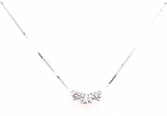 9ct White Gold 0.40ct Three Stone Diamond Necklace