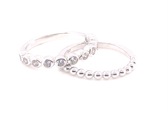 Sterling Silver Rubover & Bubble Cz Ring Set