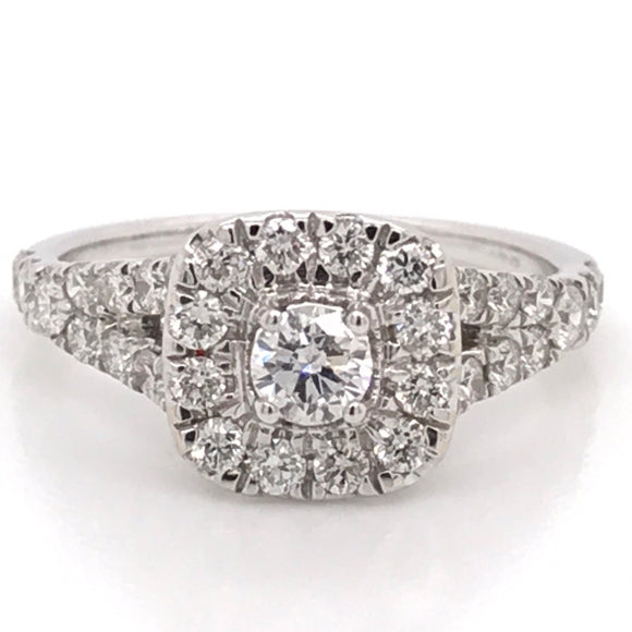 Round Brilliant cut centre stone with diamond halo Diamond Engagement Ring