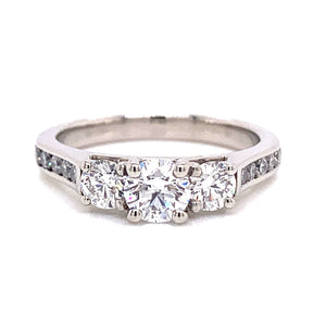Platinum Three Stone With Channel Set Diamond Shoulders