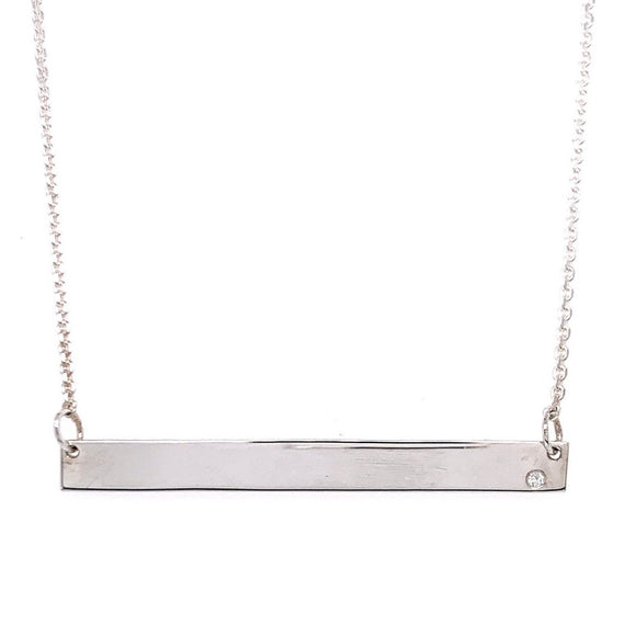 Tadgh Óg 45mm Balance Bar Sterling Silver with Diamond Pendant