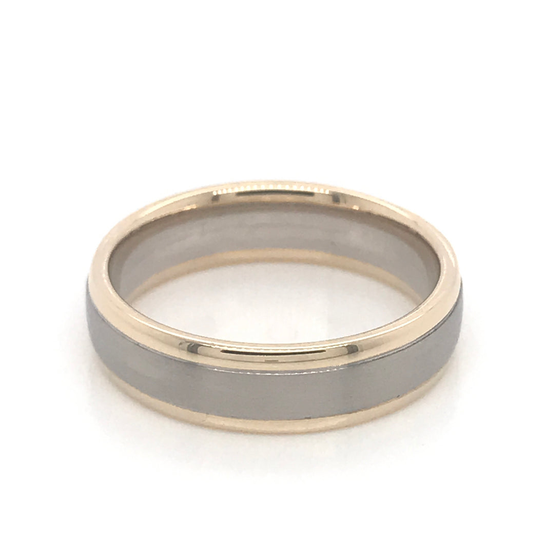 9ct yellow gold and palladium 950 Gents band