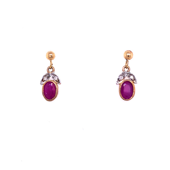 9ct Gold Ruby & Diamond Drop Earrings