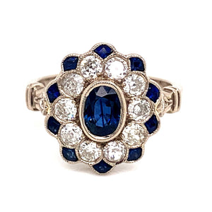 Vintage Style 18ct Raw White Gold Sapphire & Diamond Ring