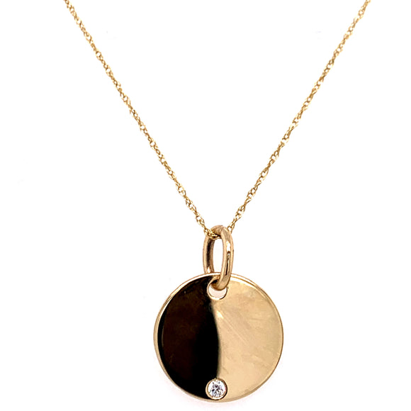 9ct Gold Engravable Disk with Cz stone