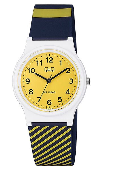 Q & Q Boys Navy And Yellow Stripped Watch