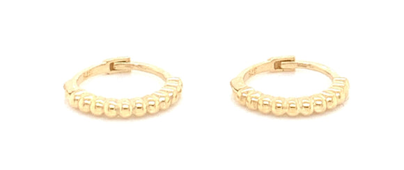 9ct Gold Dotted Clicker Hoop Earrings