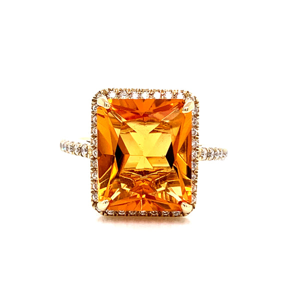 9ct Yellow Gold Citrine & Diamond Ring