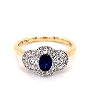 Sapphire .55ct and .41ct Diamond Bezel Set Trio Halo
