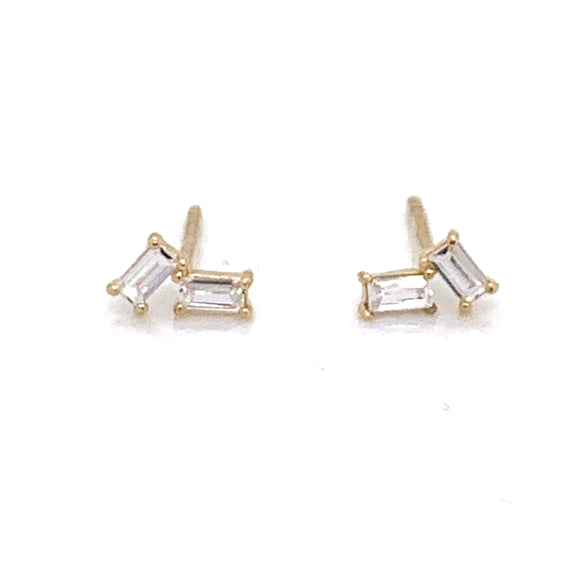 9ct Gold Angular Baguette Stud Earrings