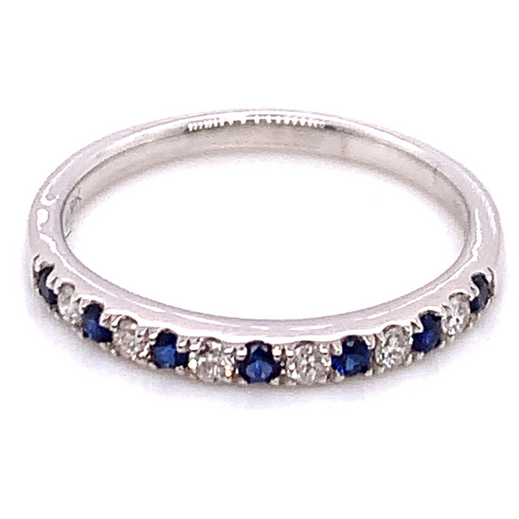 9ct White Gold Sapphire & Diamond Band