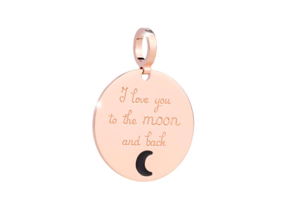 Rebecca My World I Love You to the Moon and Back Rose Gold Charm