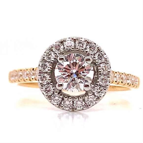 18ct Yellow Gold with Platinum Head Halo Diamond Engagement Ring