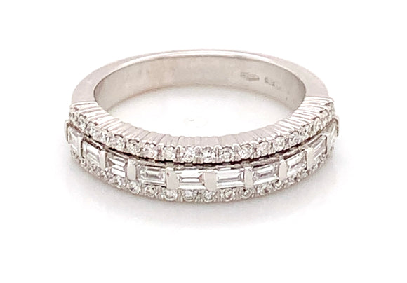 18ct White Gold Round And Baguette Diamond Band