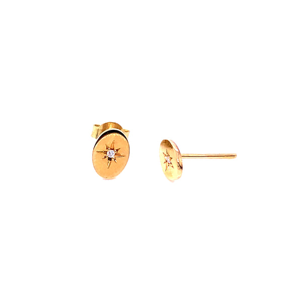 Anma 14ct Gold Oval Flat Stud With Diamond Earrings
