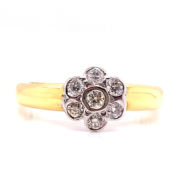 18ct Yellow Gold Flower Style Diamond Engagment Ring