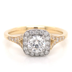 18ct Yellow Gold Round Cut Halo Diamond Engagement Ring