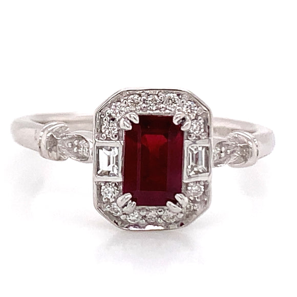 9ct White Gold Emerald Cut Ruby with Diamond & White Sapphire Vintage Style Ring