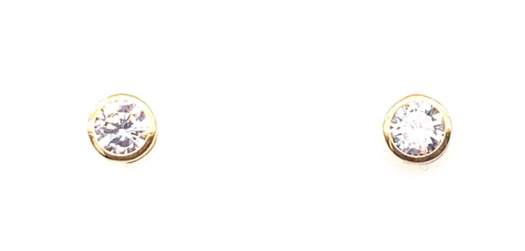 9ct Gold Bezel Set Cz Stud Earrings