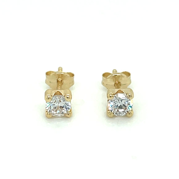 9ct Gold 4mm Cz Stud