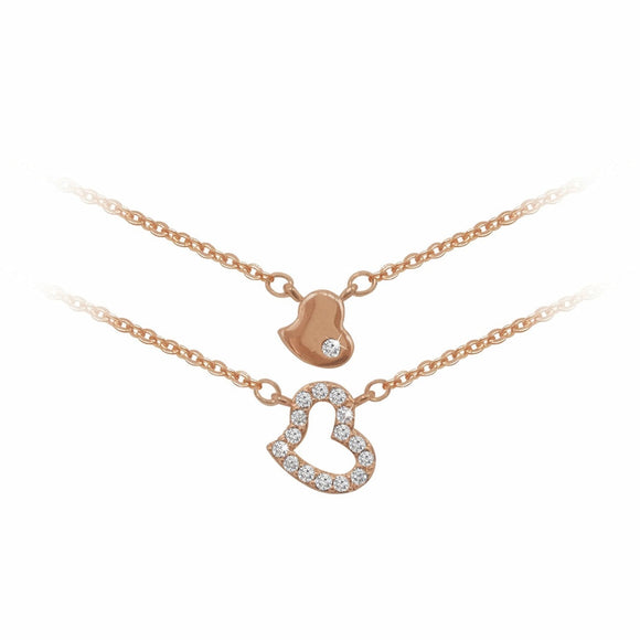 Tipperary Crystal Rose Gold Double Layered Heart Neckalce