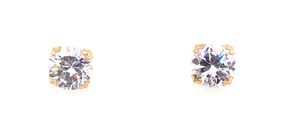 9ct Gold 8mm Round Cz Stud Earrings