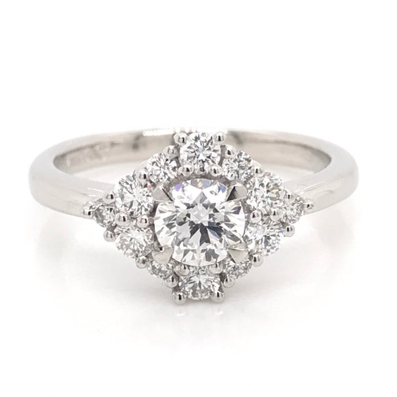 Platinum Round Brilliant Centre Cluster Diamond Ring