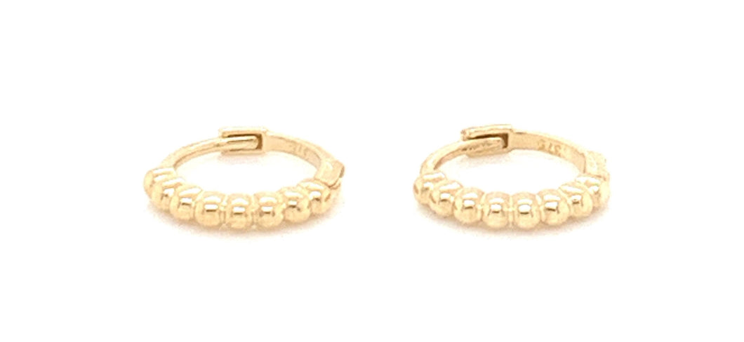 9ct Gold Small Dotted Clicker Hoop Earrings