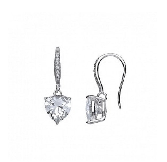 Sterling Silver Heart Drop Cz Earrings