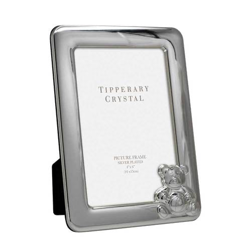 Tipperary Crystal Baby Frame with Bear 4 Inch X 6 Inch