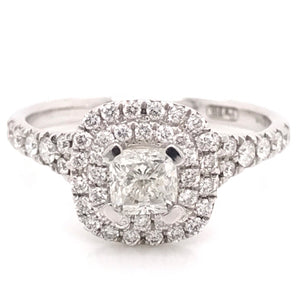 Cushion Cut double halo (0.85ct) Diamond Engagement Ring