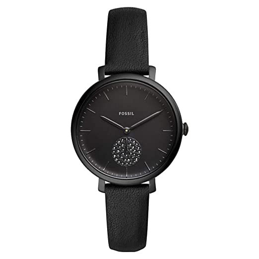 Fossil Jacqueline Black Leather Strap Ladies Watch ES4490