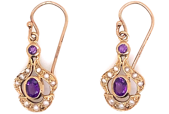 9ct Yellow Gold French Wire Amethyst & Pearl Earrings