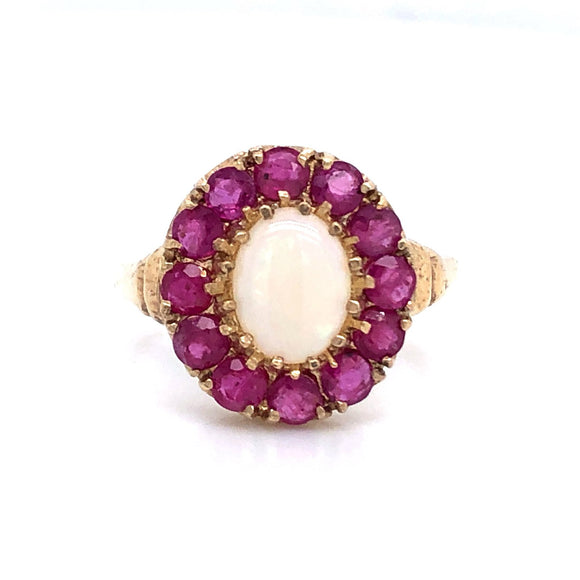 9ct Gold Best Opal And Ruby Ring