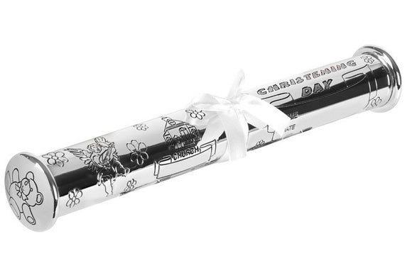 Silver Plated Christening Certificate Tube