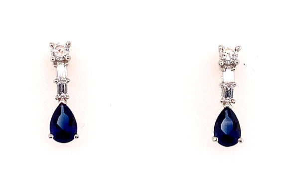 9ct White Gold Trilogy Cz Drop Earring With Pear Sapphire