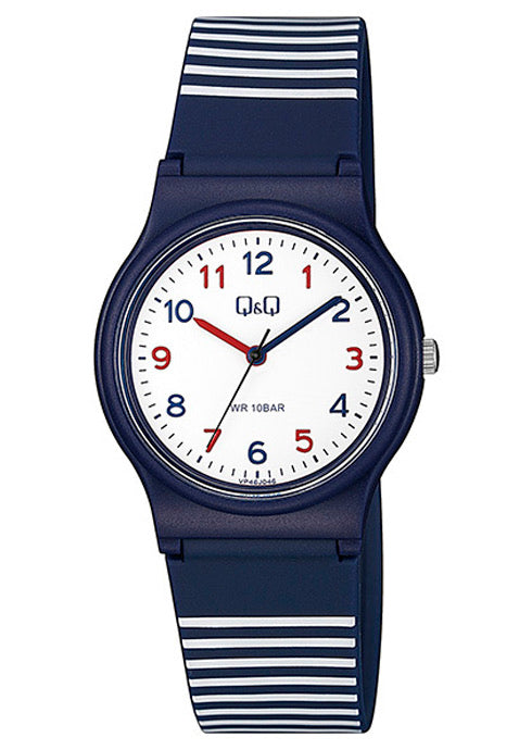 Q & Q Boys Large Navy And White Striped Silicone Strap Watch