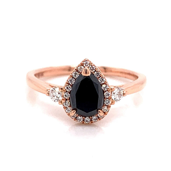 9ct Rose Gold Black Diamond Pear With Side Diamonds