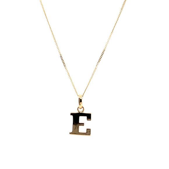 9ct Yellow Gold Plain Initial E Pendant