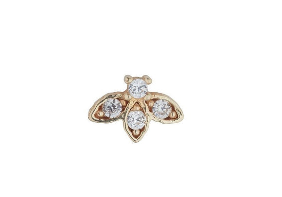 9ct Gold Cz Lotus Single Piercing Earring