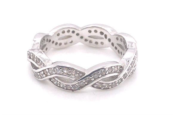 Sterling Silver Twisted Full Set Cz Ring