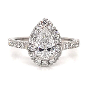 1.32ct Pear Halo Diamond Engagement Ring