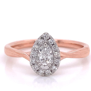 9ct Rose Gold Pear Halo .20ct  Diamond Engagement Ring